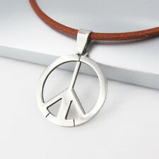Silver Surfer Woodstock Hippie Peace Pendant Mens Womens Brown Leather Necklace