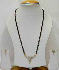 Bollywood Bridal Mangalsutra Gold AD Earrings Jewellery Black Beads Chain SSC146