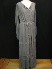 Jen's Pirate Booty Grey Crochet Cotton Gauze Button Front Lng Slv Maxi Dress S/M