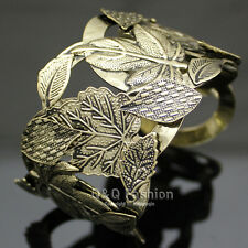 Vintage Gold Repousse Leaf & Stem Zuni Navajo Ornate Bold Bracelet Bangle Cuff W