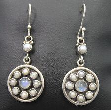 SLG Sterling Silver Pearl & Moonstone Round Dangle Earrings