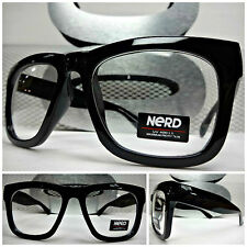 Men or Women VINTAGE RETRO NERD Clear Lens EYE GLASSES Thick Black FASHION FRAME