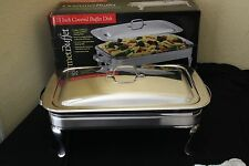 COVERED BUFFET CHAFING DISH RECTANGULAR 13 X 9 STAINLESS 2 TEA LIGHTS 5 PC SET