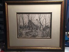 Original Pair Of Framed W A Hatfield Pencil Drawings Of Wooded Homes Dated 1940