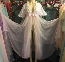 VINTAGE Radcliffe PINK Peignoir Nightgown SET~Lingerie Robe Gown Negligee~S 36B