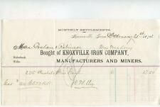 Antique 1874 KNOXVILLE IRON COMPANY Manufacturers Miners Billhead TN Mining