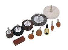 11pc Polishing Kit Wire Brush Wheel Grinding Stone- Power Drill Sanding Cleaning