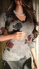 LORO PIANA 100% CASHMERE SWEATER GRAY FLORAL PULLOVER KNIT TOP 40 4 SMALL