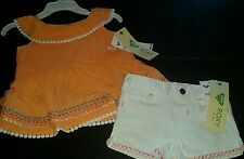 ��SO CUTE ROXY BABY GIRL'S 2 PIECE SUMMER SET. CANTALOUPE/WHITE . 18 MONTHS��