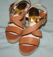 Michael Kors Estate Zeppa in Paglia tan leather tg 10m / 8uk