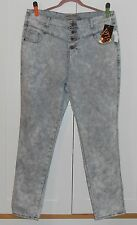 WOMEN'S VIP DISTRESSED LIGHT WASH BUTTON FLY STRAIGHT LEG JEANS - SIZE 21/22