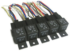 5pk 12V 40A SPDT BOSCH STYLE RELAYS & 5-WIRE WIRING HARNESS SOCKET 5 PIN