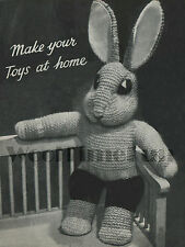 Knitting Pattern Vintage Toy Bunny Rabbit.