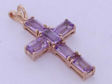 P055- Gorgeous REAL 9ct Solid Rose Gold Natural Amethyst Cross Pendant