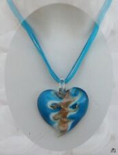 Pendentif Coeur Nazaly Turquoise Blanc Or Verre Soufflé Style Murano