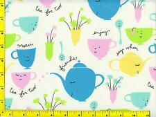 Turquoise Yellow Pink Green Teapots & Cups Fat Quarter CKDTOY07870
