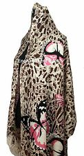 "Handmade 24""x78"" 2-Ply 100% Cashmere LEOPARD Scarf Shawl Wrap w/ BUTTERFLY Brown"