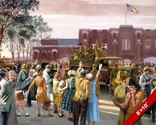 WWII SOLDIERS BIDDING FAREWELL PAINTING US MILITARY HISTORY ART CANVAS PRINT