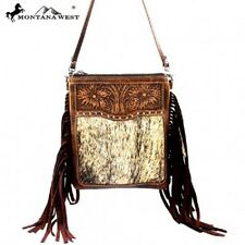 MONTANA WEST TOOLED WESTERN GENUINE LEATHER HAIR ON COWHIDE FRINGED CROSSBODY