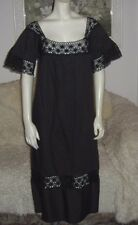 Vintage 70s Salma Black Mexican Crochet Lace Pintuck Hippie Midi Dress XL