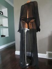 $298 Victoria's Secret Designer Collection Silk Lace Long Robe Gown Black SZ;L