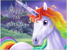 "Unicorn Horse Personalised Cake Topper 7.5 By 10"" Edible Wafer Paper"