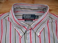 TA1511 Ralph Lauren POLO CUSTOM FIT Businesshemd Langarm 41 Weiß Rot Oliv