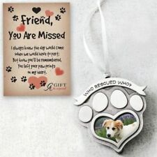 WHO RESCUED WHO? Rescue Pet Memorial Photo Frame Paw Print Ornament