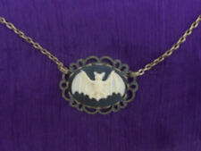 GOTHIC CREAM ON BLACK 25 X 18 MM  BAT CAMEO NECKLACE