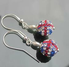 PAVE DISCO UNION JACK CRYSTAL 925 SILVER EARRINGS