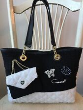 BETSEY JOHNSON Black White TOTE Gold Trim Bling Butterfly Quilted Chenille *EUC*
