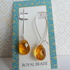 Topaz Honey Glass Teardrop Silver Plated Long Kidney Wire Threader Earrings