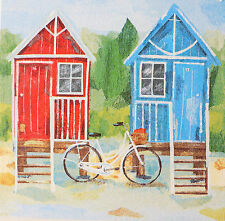 Nautical Beach Hut Shabby Seaside Chic & Vintage Bike Wooden Picture Plaque 0Art