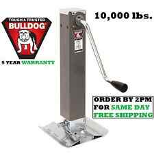"BULLDOG SQUARE TRAILER JACK W/ FOOTPLATE 10,000 lbs DROP LEG - SIDEWIND 10"" LIFT"