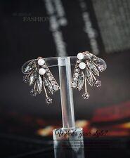Boucles d`Oreilles Clips Puces Doré Aile Etoile Amerindien Cristal Gris Perle J1