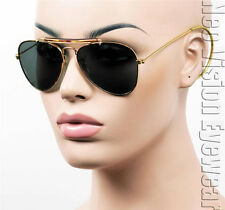 Aviator Sunglasses Hipster Vintage Cable Hook Temples Gold Tortoise S11TB
