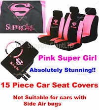 15 PC Supergirl Girly Pink  Racing Car Seat Cover Mat Set Wheel Glove Cover Pads