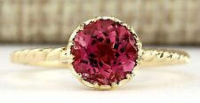 1.50CTW NATURAL PINK TOURMALINE RING IN 14K YELLOW GOLD