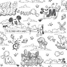 DISNEY MICKEY MOUSE PATTERN PENCIL CARTOON CHILDRENS WALLPAPER ROLL BLACK WHITE