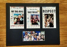 Detroit Pistons ALL 3 NBA champions matted pics of newspaper front pages