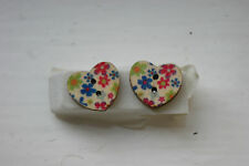 Novelty Wooden Heart Blue/pink/green flower Earrings