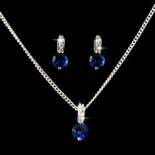 White Gold Plated SAPPHIRE BLUE Crystal Pendant Necklace Earrings Jewelry Set UK