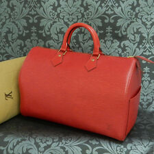 Rise-on LOUIS VUITTON EPI SPEEDY 35 RED Handbag Purse #20