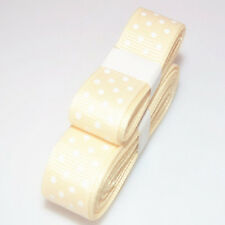 """Cream colo 3yds 5/8""""(15 mm)Christmas Ribbon Printed lovely Dots Grosgrain~"""