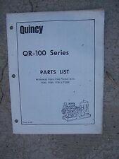 1973 Quincy QR-100 Series Water Cooled Single State Air Compressor Parts List R