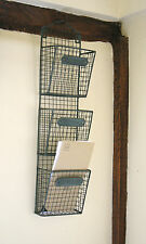 Wire Letter Post Stationery Rack Basket Vintage Chic Triple Wall Mounted Storage