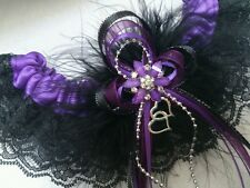 LoVe iT! PURPLE Satin & BLACK Lace GARTER Prom Wedding Special Occasion Bridal
