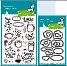 Lawn Fawn Photopolymer Clear Stamp & Die Combo ~ LOVE YOU A LATTE ~ LF704, LF705