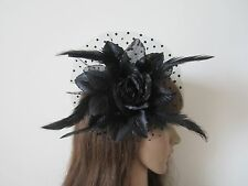 New Black Glitter Rose Wedding Feather Corsage Clip Fascinators Brooch Headdress