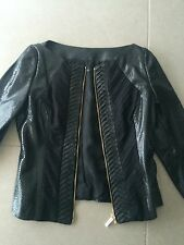 ELISABETTA FRANCHI JACKET GIACCA CUIR LEATHER PELLE 36 FR NOIR BLACK 44 IT